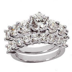 3 ct. diamonds royal engagement ring band set gold